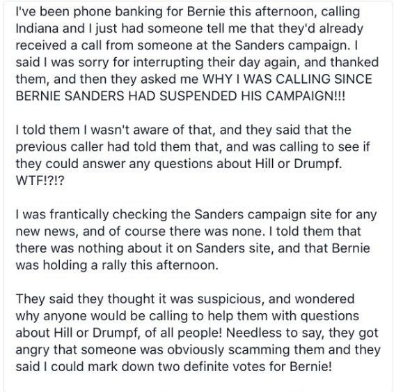 Any in HRC's camp calls & says Bernie stopped campaigning,they're lying. Tell 'em Brokered Convention. Bernie's going all the way!