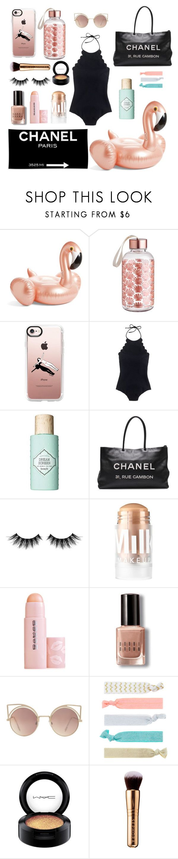 """""""beach babe"""" by crybarbietears ❤ liked on Polyvore featuring Casetify, Chanel, J.Crew, Benefit, Huda Beauty, MILK MAKEUP, Buxom, Bobbi Brown Cosmetics, MANGO and Accessorize"""