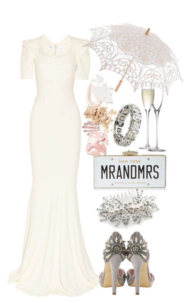 """""""Roland Mouret wedding gown"""" by thestyleartisan ❤ liked on Polyvore featuring Roland Mouret, CO, LSA International and Kate Spade"""
