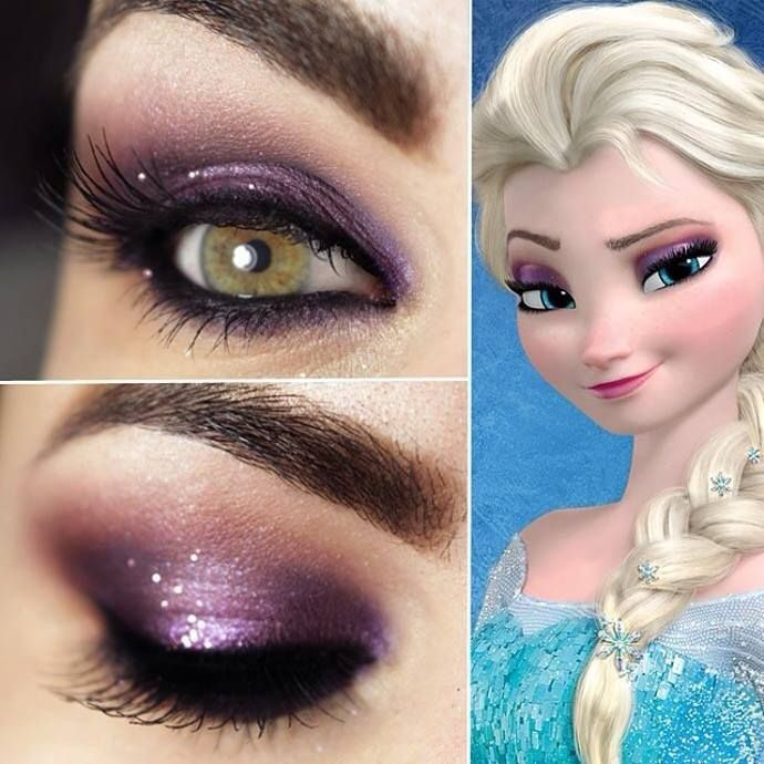 Purple Frozen Elsa bling eye makeup - 2014 Halloween, party
