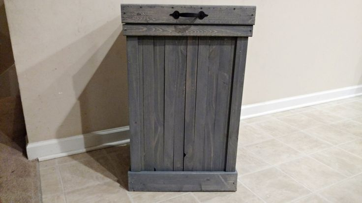 Gray Wash 30 Gallon Rustic Wood Kitchen Trash Can, Trash Bin, Farmhouse Kitchen Decor, Country Kitchen, Garbage Can, Wood Bin, Storage, Home by OurTwistedCreations on Etsy