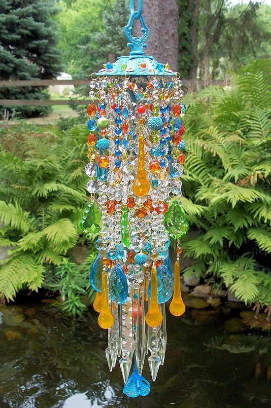 bohemian decor and furniture   DIY - Decor and Furniture / Jeweled Bohemian Spice Crystal Wind Chime