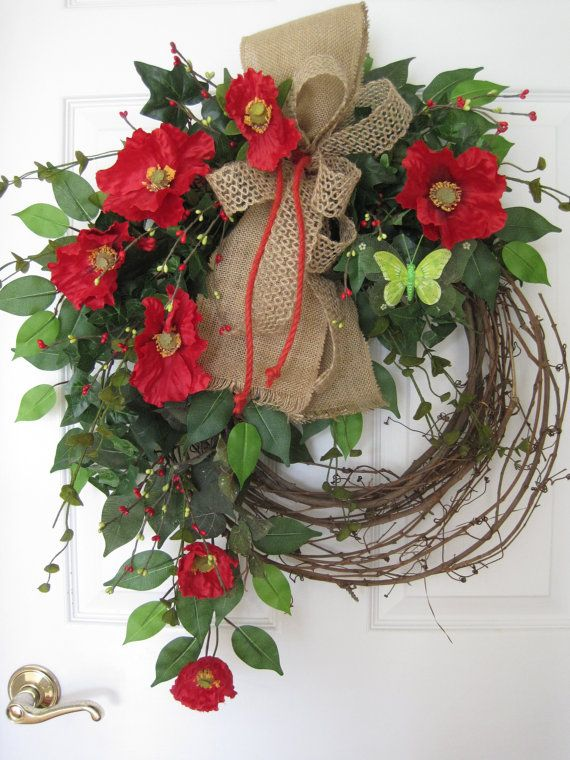 RED POPPY'S WREATH Butterfly Wreath Spring Wreath by FunFlorals