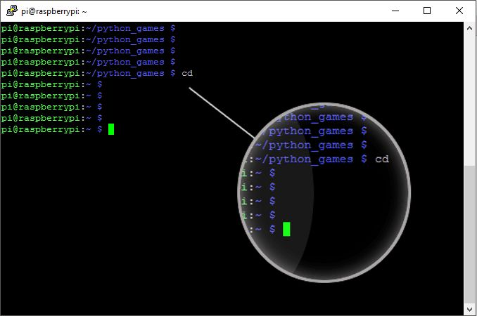 cd command in the terminal