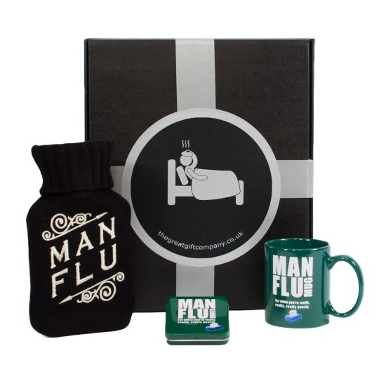 Man Flu Gift Box.  We all know how awful Man Flu is.  So when the man in your life is suffering, make sure he gets the perfect Get Well Gift