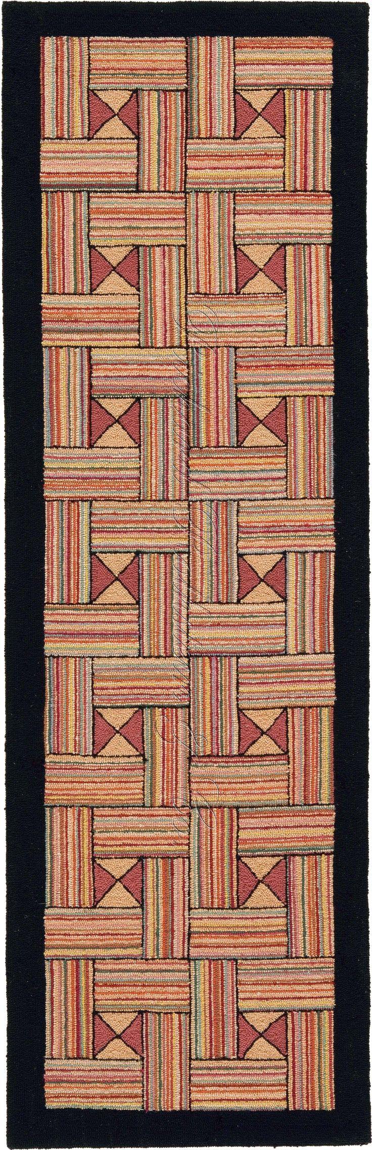 Historic Design Hand Hooked Rug - Striped Open Basket Weave