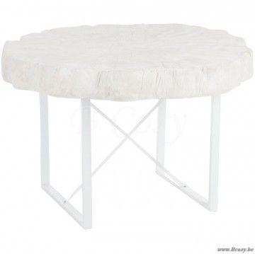 Line Ronde witte tafel boomstam met wit metalen frame 120