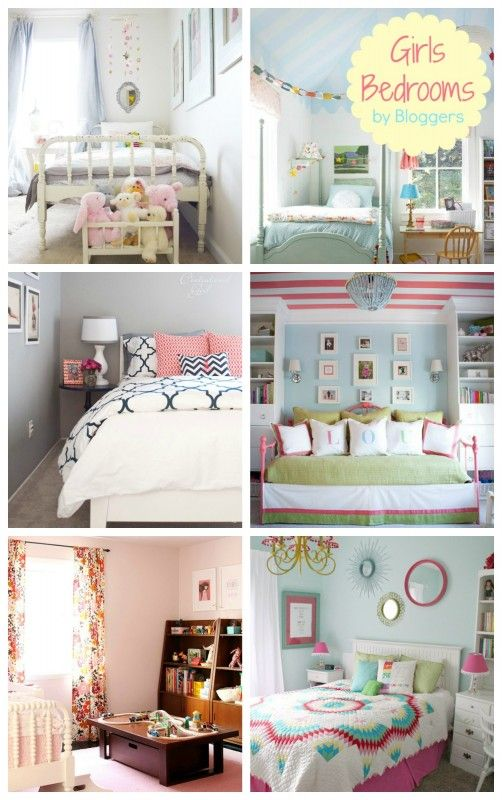 Ohh I love middle left hand side!!! I wonder if that comes in a queen~Great Girl Bedroom Ideas For Real life kids! #bedroom #design #girls