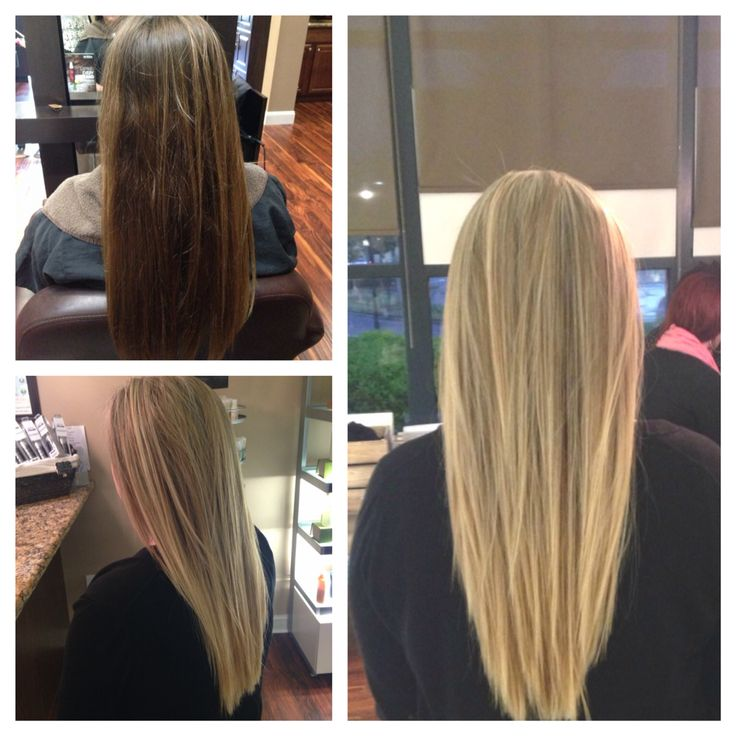 Before and after from brown to blonde with aveda's new blonde finisher