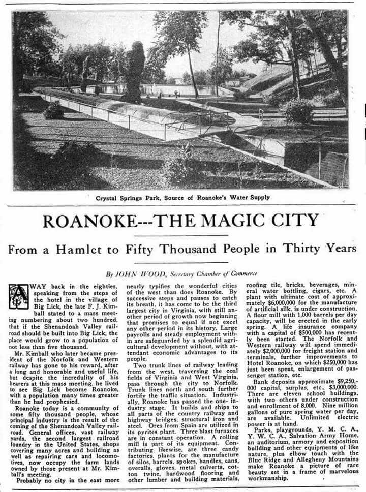 "Picture of Crystal spring in an old 1916 ""Magic City"" article"