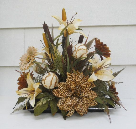 Silk Flower Arrangement, Safari Centerpiece, Table Decor