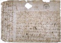 A scan of Richard III's request for the Great Seal with postscript on treachery of Duke of Buckingham, 12 Oct 1483 from the National Archives.