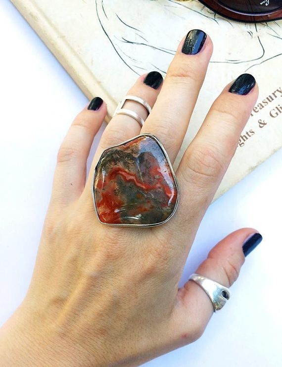 Ring with big natural stone agate red gray stone ring