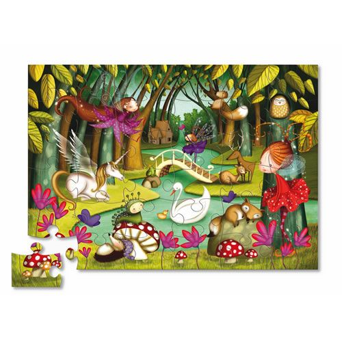 Fly away with fairies and this cute fairy-tale themed puzzle. The sturdy, reusable shaped box makes this puzzle perfect for travel or home. A slightly-recessed lid makes the storage box easy for little fingers to open. As children put the pieces together an illustration of fairies in a forest will be revealed. Featured forest creatures include: a unicorn, a hedgehog, a swan, fairies, and many more! Age 3+ #CamelotKids #CrocodileCreek #Fairies #Puzzle