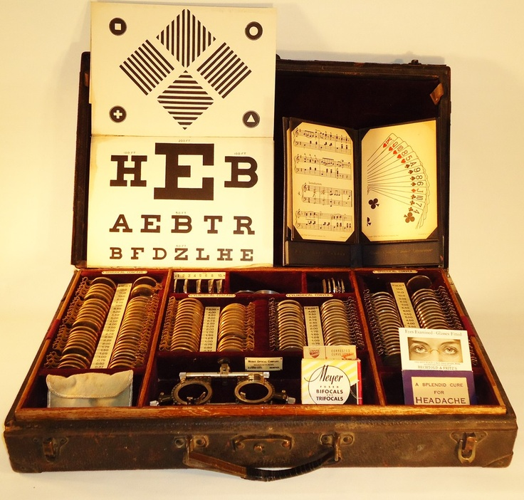 Antique Optometry Exam Set - tools of the trade, back in the day!