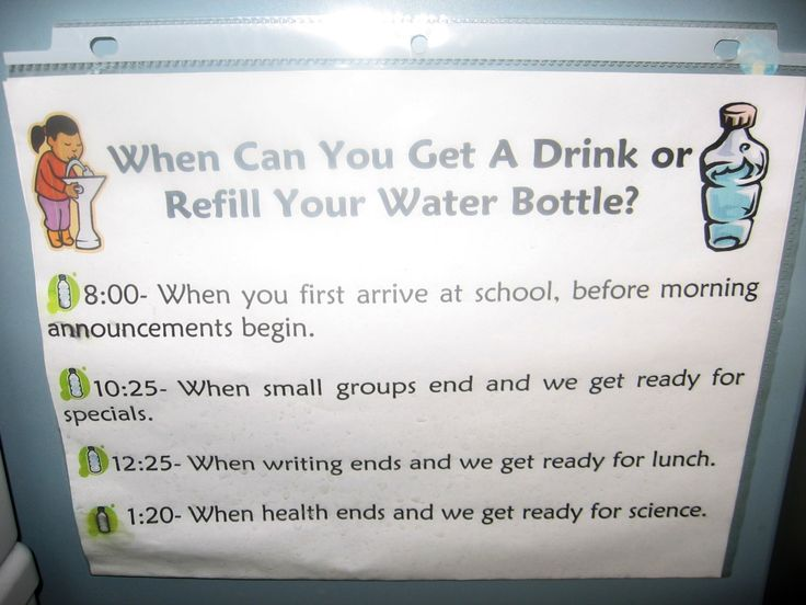 Free downloadable Word doc that shows kids when they can get a drink.