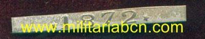 España. 1ª República. Pasador en Plata para la Medalla de Distinción de la Guerra de Cuba con la fecha 1872. - Militària BCN