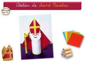 Atelier pour fêter la venue du Saint patron des enfants et des écoliers. Récupération, et découpage au programme !