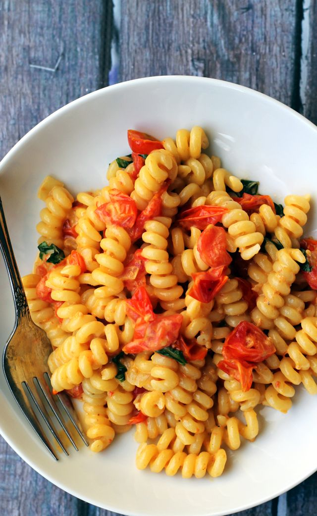 Pasta with Slow-Roasted Cherry Tomatoes and Cream - Joanne Eats Well With Others