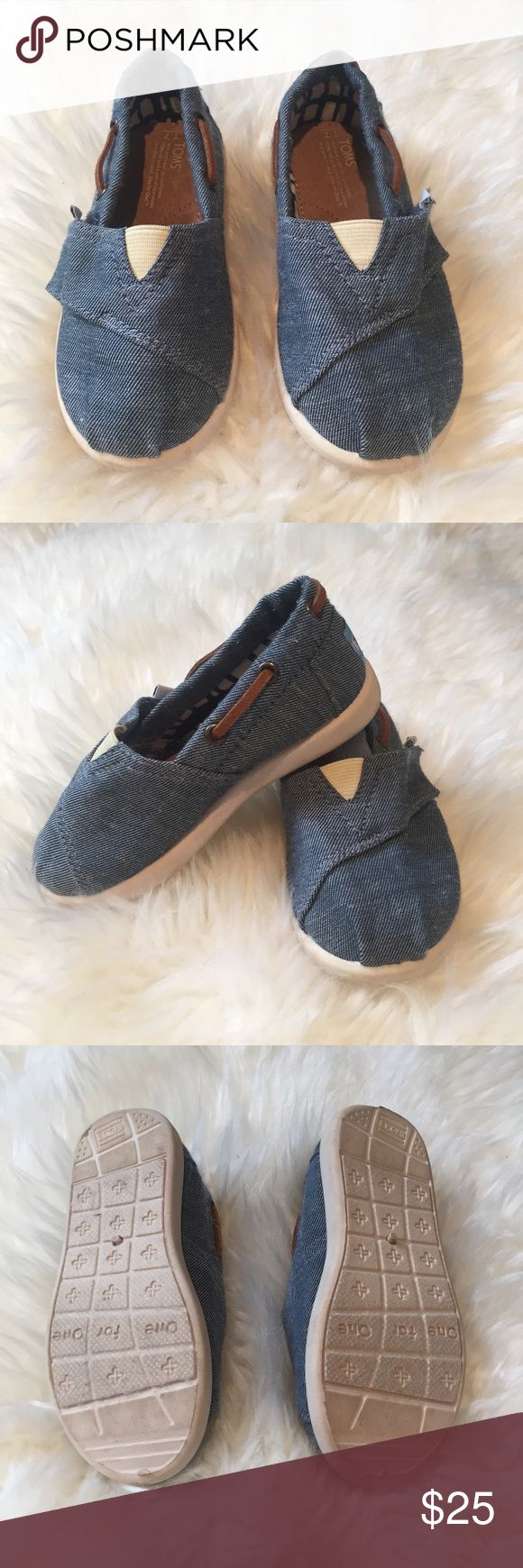 Tiny Toms Biminis Blue chambray. Worn once. No signs of wear, except soles. Slip- one with Velcro closure for adjusted fit. Toms Shoes