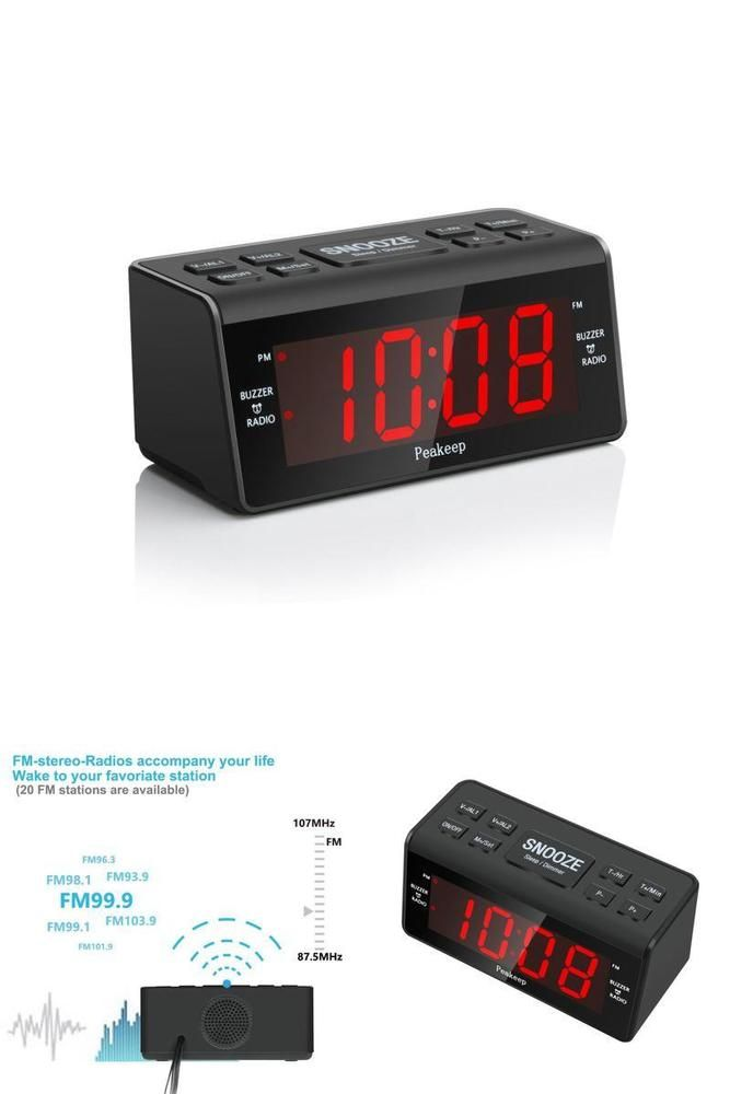 Alarm Clock With Fm Radio Large Display W 2 Dimmer Dual