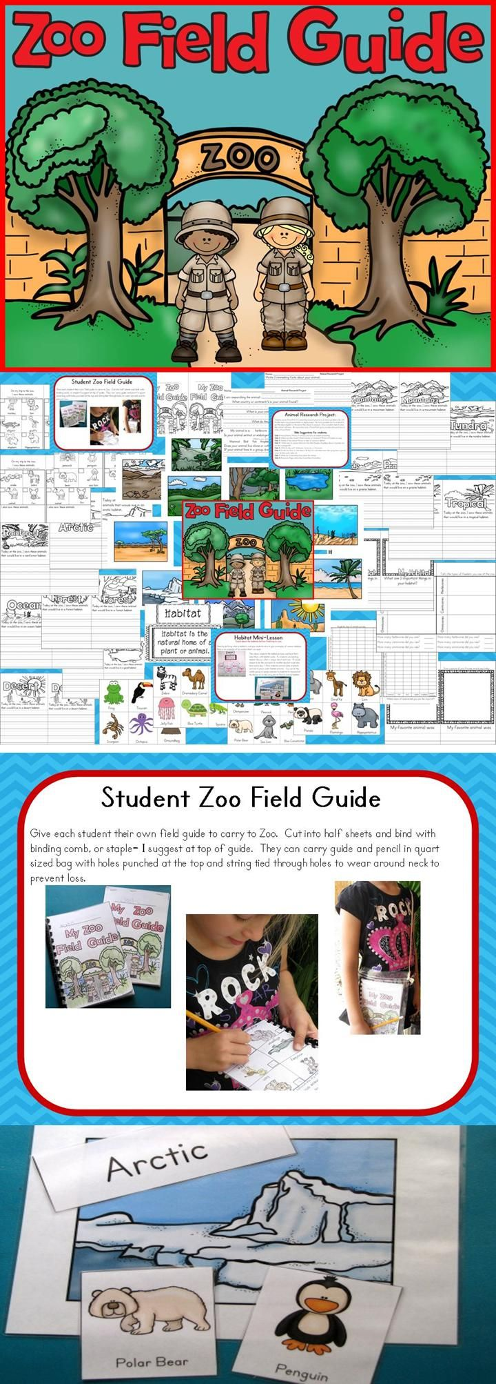 Zoo Field Guide and Animal Study pack has printables to keep students engaged at the zoo. It also has research project for students to do and mini-lesson on Habitat including anchor chart, habitats and animals to place in correct habitats. k-2 #zoo #animalstudy #zooguide