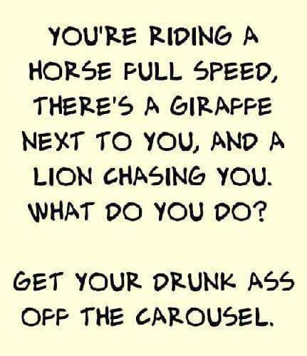 You're riding a horse full speed, there's a giraffe next to you, and a lion chasing you.  What do you do?  Get your drunk ass off the carousel.