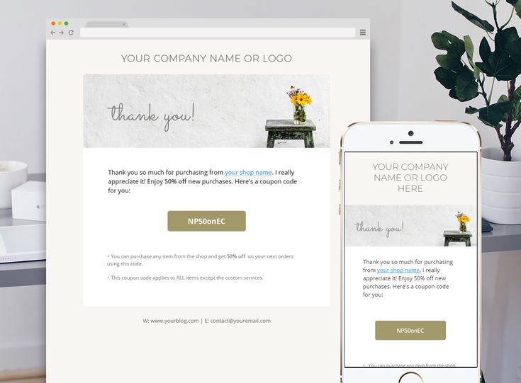 Tip To Increase Your Sales On Etsy.  Increase your sales by sending this Thank you e-newsletter template with discount code to your regular customers. They will appreciate your effort and are more likely to come and use it, which in turn increases your reputation and sales, you can feel free to change fonts and colours to fit your company's branding.