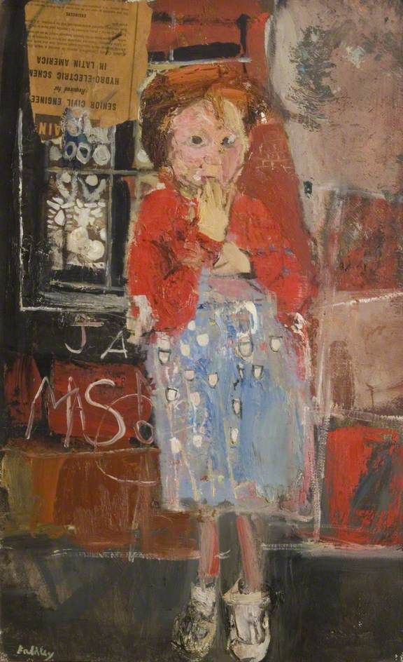 Little Girl with a Squint  by Joan Kathleen Harding Eardley       Oil & collage on canvas, 74.9 x 49.7 cm  Collection: Dumfries and Galloway Council (Gracefield)