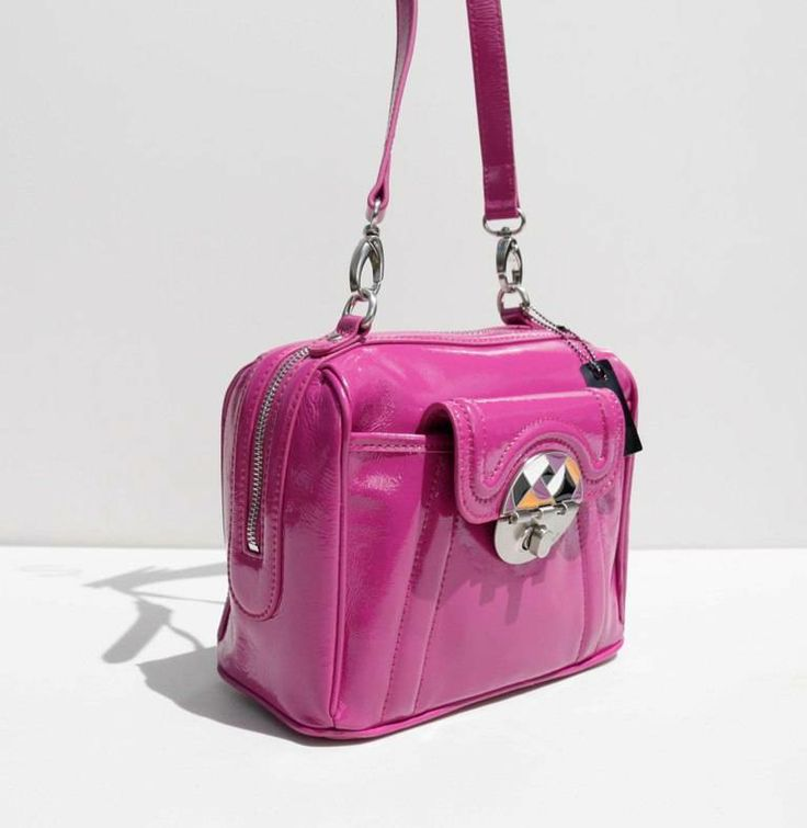 MIMCO Fibonacci Mini Doc Bag Bougainvillea Patent Leather RRP$379 Across Body