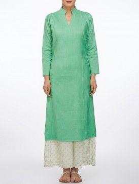 Sea Green Mandarin Collar Pintuck Cotton Kurta