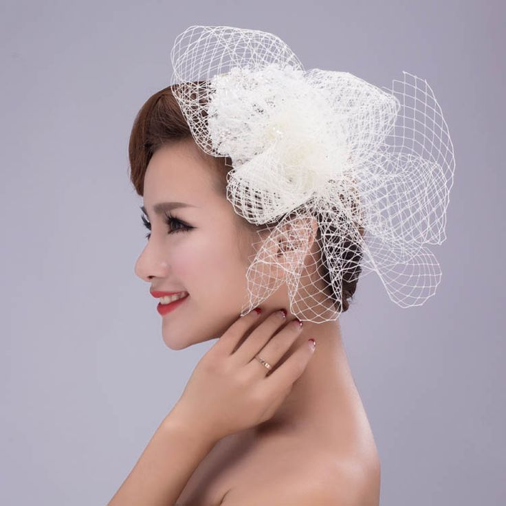 Ivory Lace Handmade Vintage Bridal Hat Birdcage Veil with Pearls