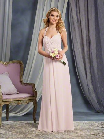Alfred Angelo Style 7372L: long floor length bridesmaid dress with halter straps