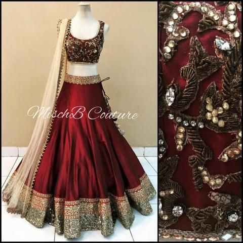 Maroon Art Silk Replica Lengha Choli with Matching Blouse ,Indian Dresses - 1