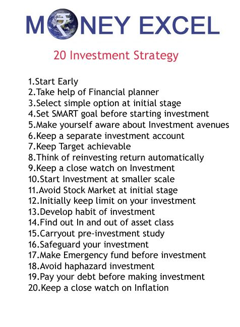 20 Investment management strategy.Follow this Investment management strategy and I am sure you will be successful investor.