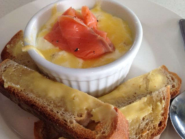 My fav breakfast - oeuf en cocotte - eggs baked with Creme fraiche!!  Decadent!!