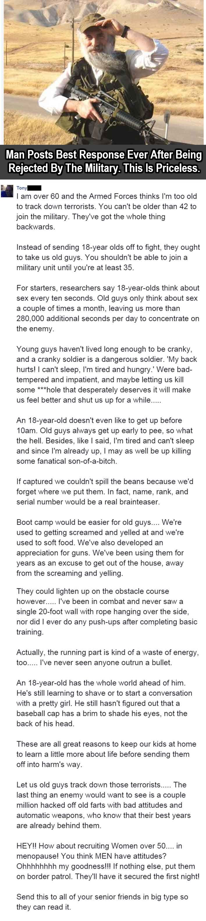 Man Posts Best Response Ever After Being Rejected By The Military. This Is Priceless.