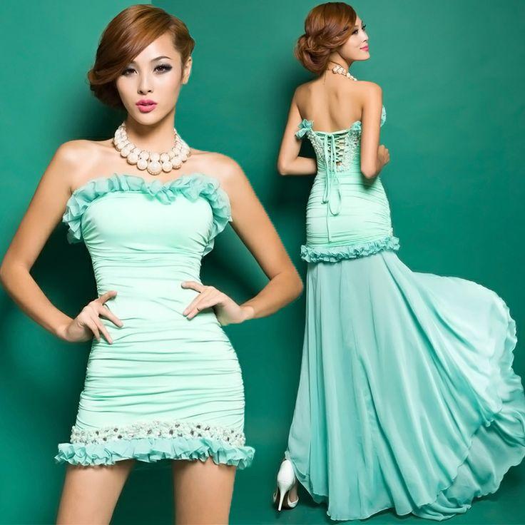 Весна 2014 в Европе и Америке хотят носить два новых без бретелек платья невесты короткие спереди длинные свадебное платье Y0201-длинный уча ...