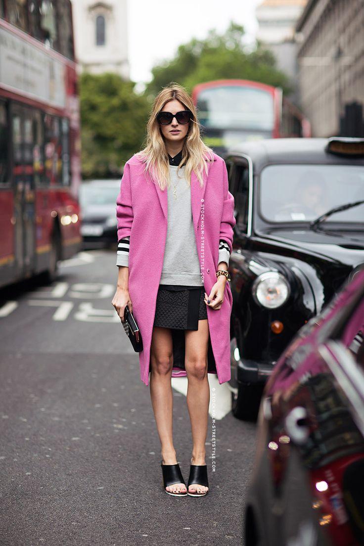 pink coat and mini skirt