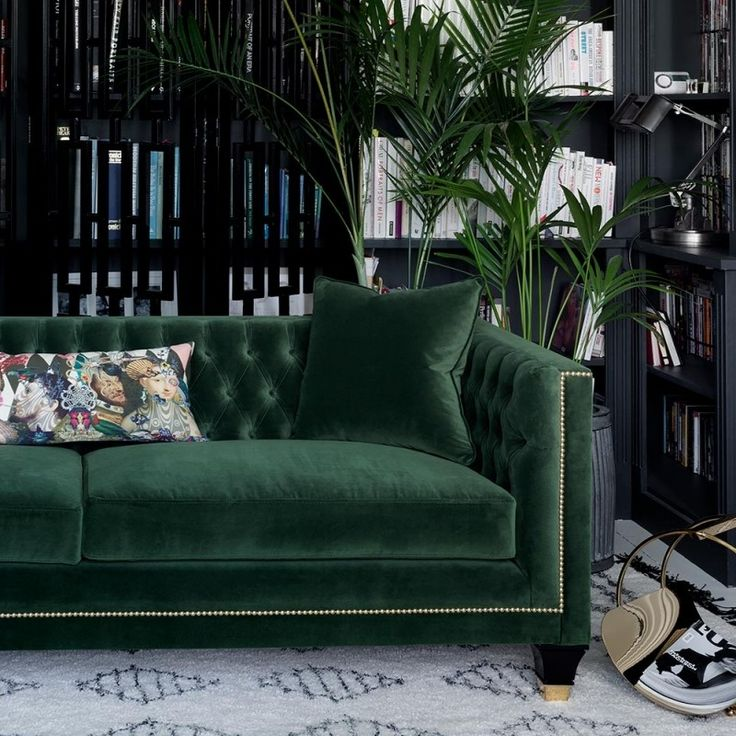 Tailored, Trendy and Art Deco! Balfour is our most charming, luxury sofa boasting a fusion of contemporary and classic style, perfectly combined in this divine hand finished piece. Photographed in House Velvet - Forest Green with gold studding, gold capped feet and lush deep buttoning, one could say this designer sofa is a real stud!