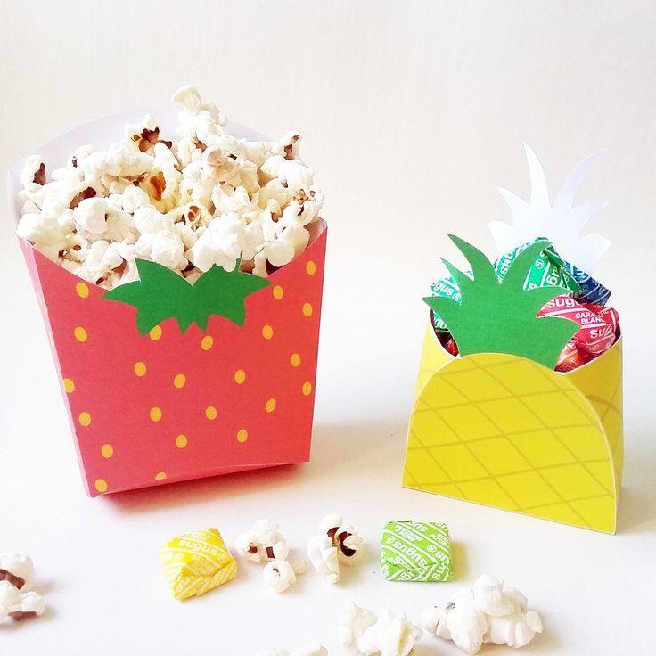 Pineapple favor box and Strawberry popcorn box. Fruit printables. Caja ananá y…