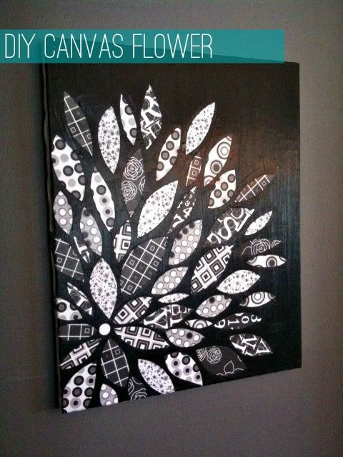 Diy tutorial home diy canvas flower with scrapbook paper for Diy canvas art black and white