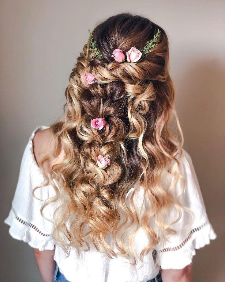 101 Boho bridal hairstyles for carefree bride , Beautiful boho hairstyles,boho romance hair, half up half down boho wedding hair  ,bridal braid hairst...