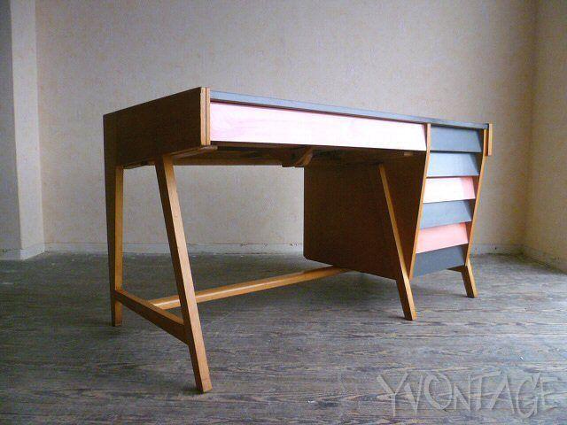 Exklusiver Architektenschreibtisch Zeichentisch Schreibtisch Desk 50er 60er 50s in Antiquitäten & Kunst, Design & Stil, 1950-1959 | eBay