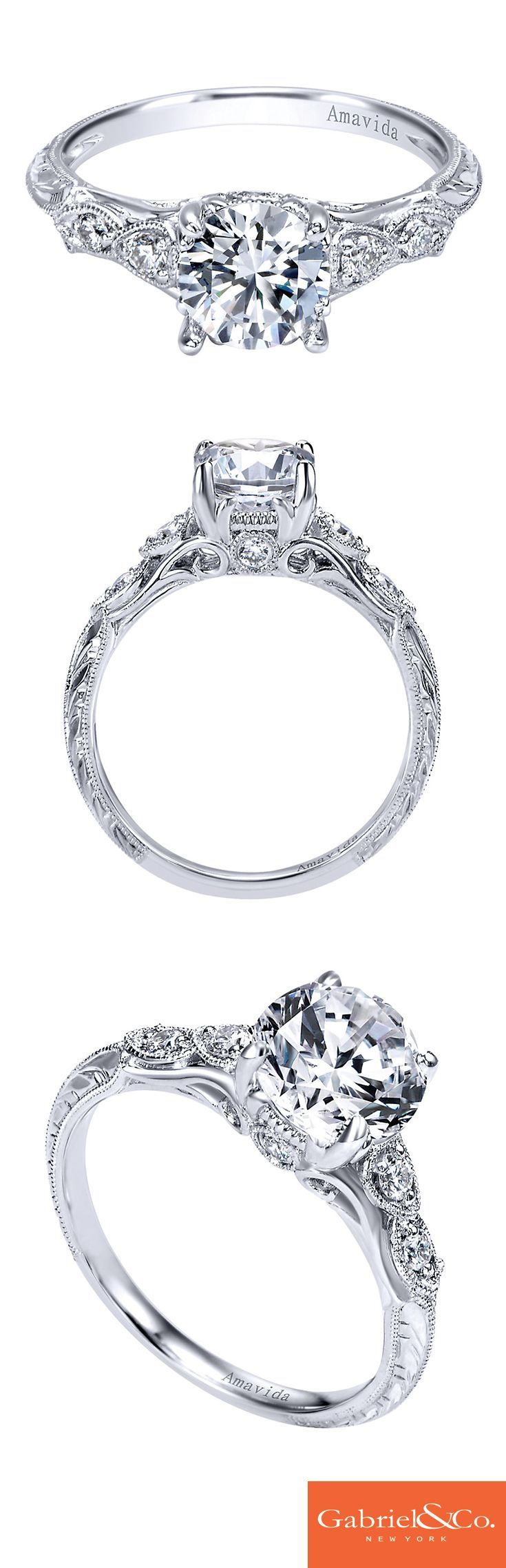 Express the many intricate and beautiful details of your love in a stunning engagement ring. This Amavida Engagement Ring by Gabriel & Co. is a platinum diamond victorian straight engagement ring is absolutely flawless. Present the one your love with this stunning engagement ring or customize your own on our website.