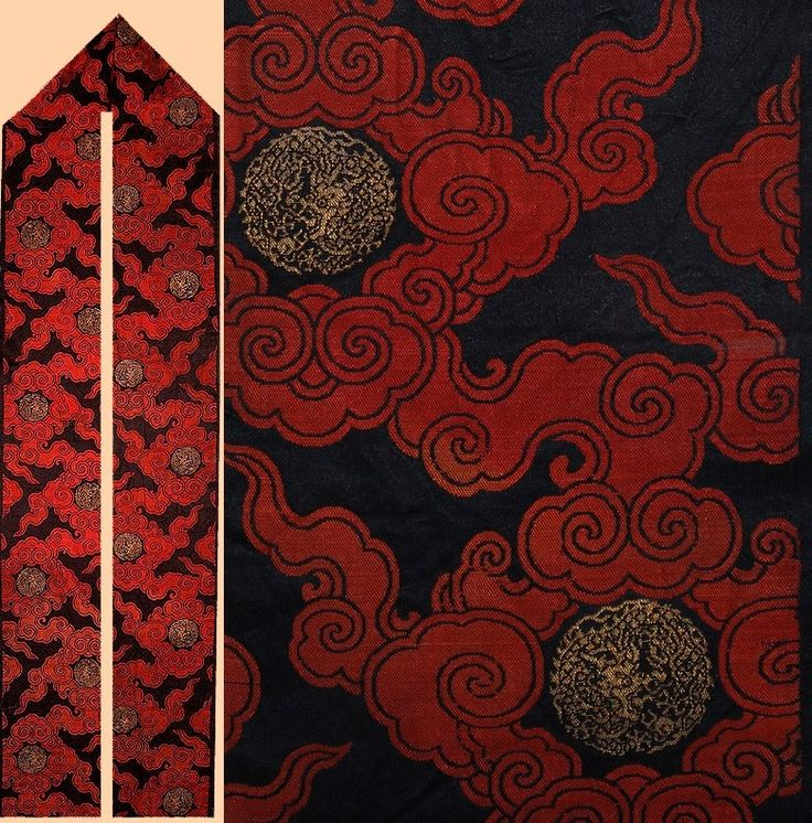 Antique Chinese Silk Textile, with Gold thread and Gold Dragon, Ming Dynasty (1368- 1644)