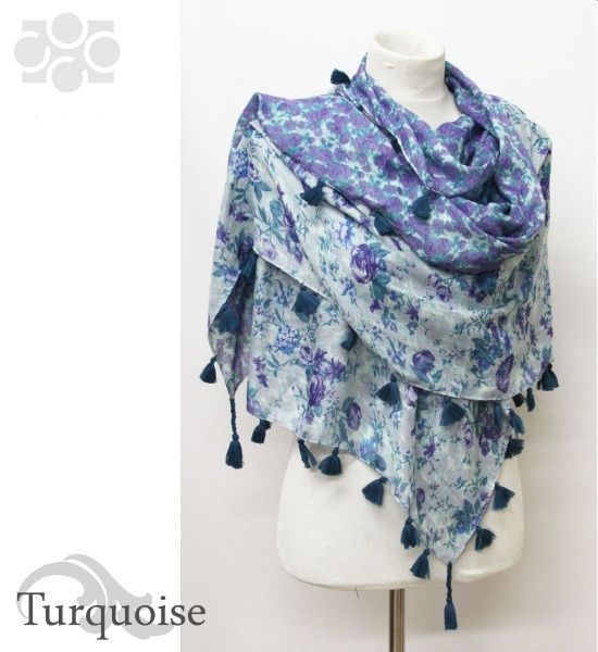 ClassyShoe.Com - Reversible Flower Pattern Scarf with Tassel - Turquoise, $14.95 (http://www.classyshoe.com/reversible-flower-pattern-scarf-with-tassel-turquoise/)