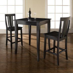 Crosley 3-Piece Pub Dining Set with Cabriole Leg and Shield Back Stools - Indoor Bistro Sets at Hayneedle