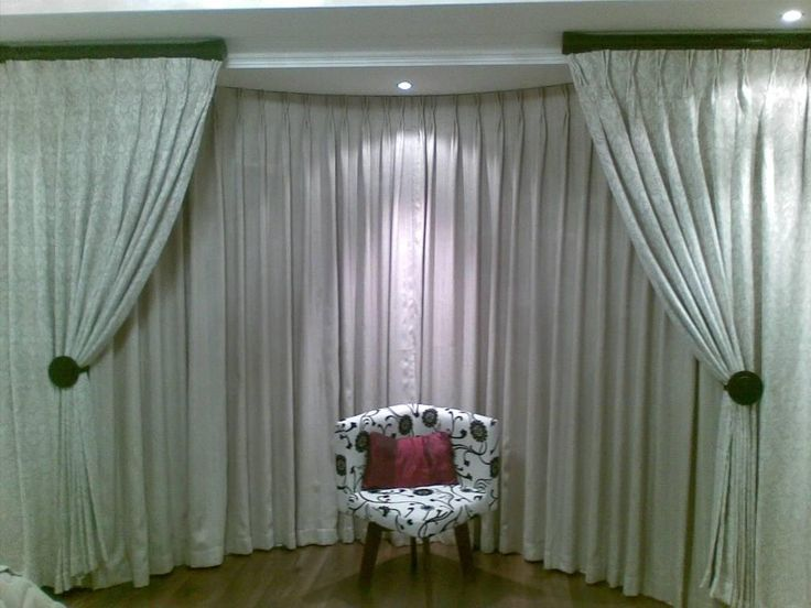 Furniture: Varnished Bay Window Curtain Pole Brackets Also Bay Window Curtain Treatment Ideas from 5 Tips In Decorating Your Home With Bay Window Curtains