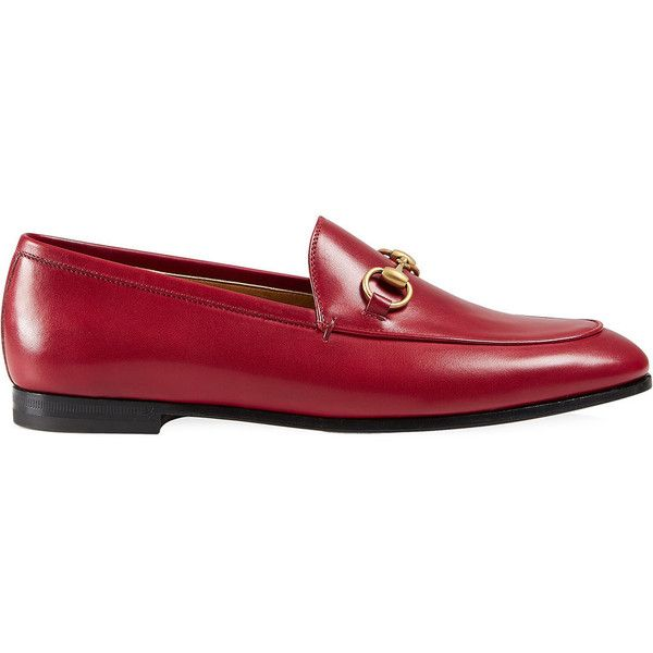 Gucci Jordaan leather loafer ($710) ❤ liked on Polyvore featuring shoes, loafers, red, red leather loafers, red flats, red flat shoes, leather loafers and gucci flats